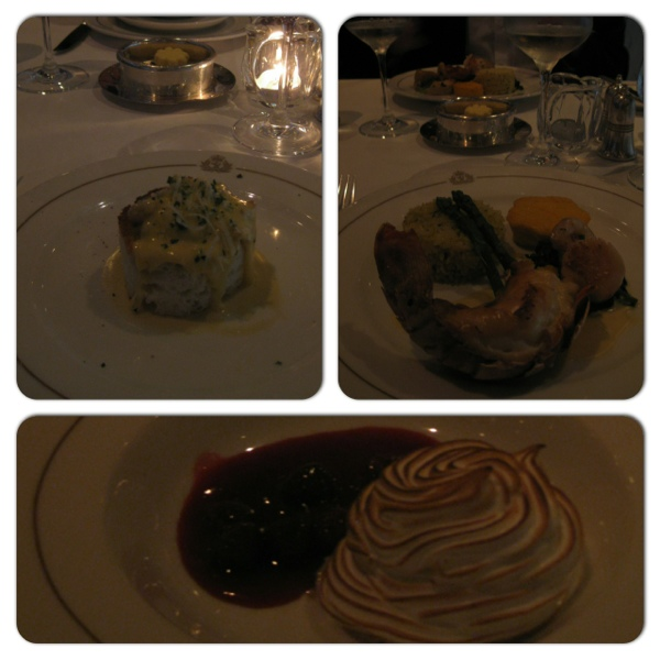 Collage of a wonderful gluten-free dinner - crab thermidor, lobster tail and baked alaska. YUM!
