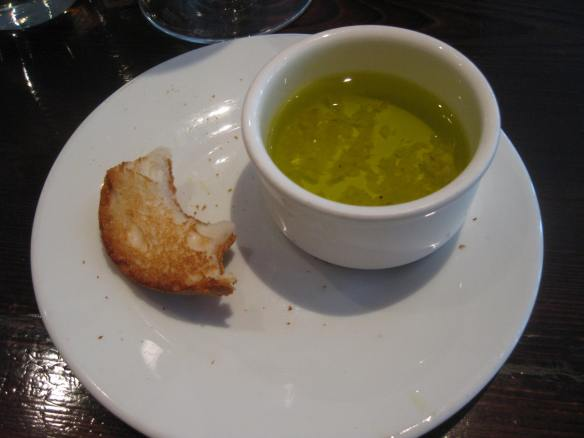 Gluten free bread and garlic infused olive oil, at Bistango