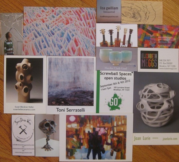 Collage of artists' cards from Go Brooklyn Art weekend 2012