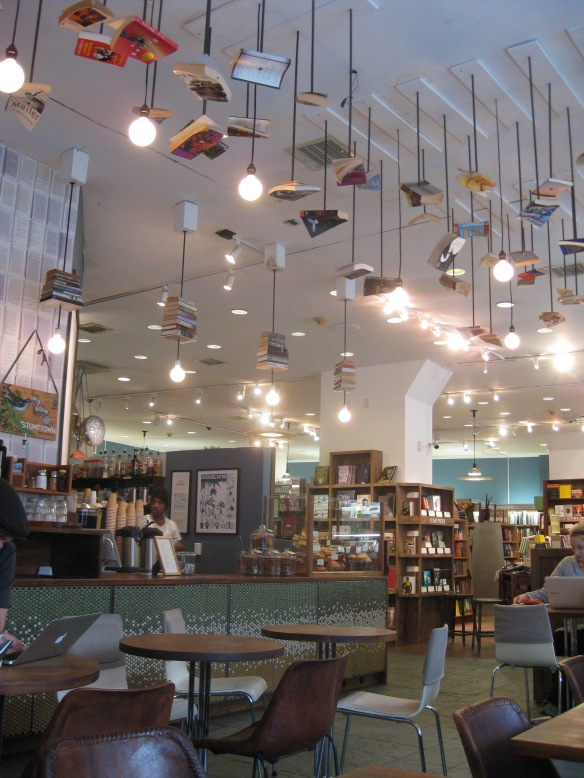 suspended books in the McNally Jackson cafe