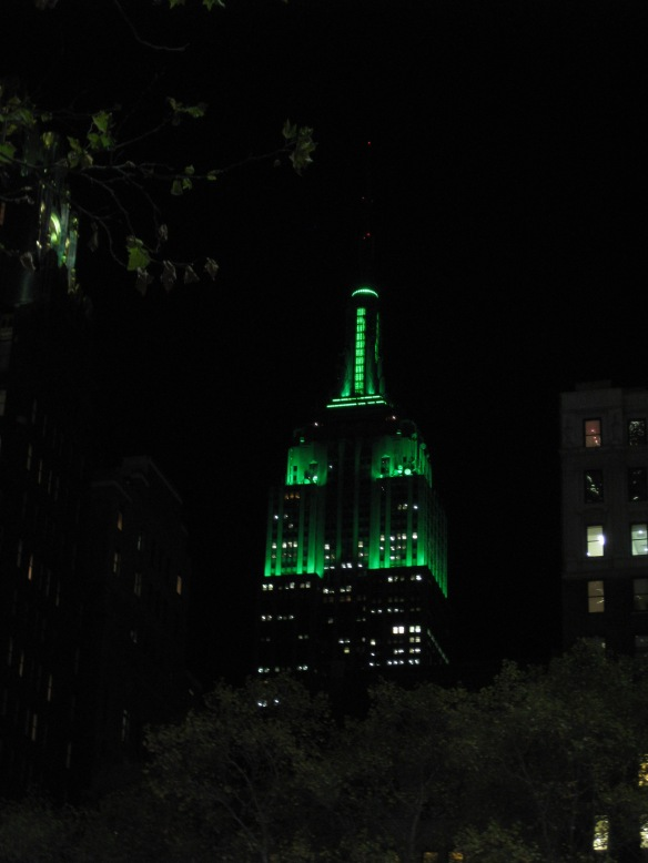 Empire State Building in festive green