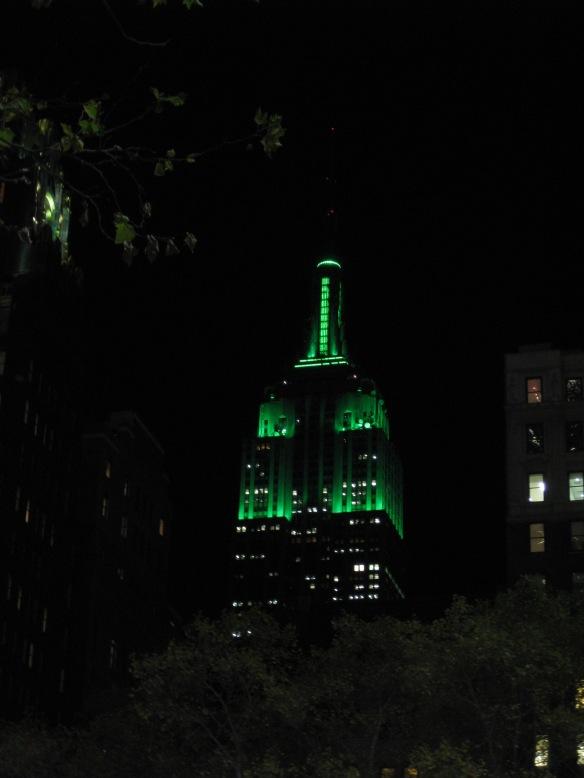 Empire State Building in festive green