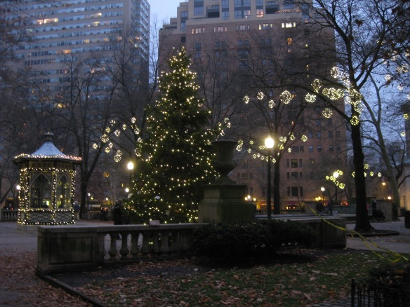 dusk in Rittenhouse Square