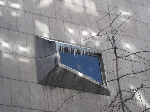 icicles on window at the Whitney Museum