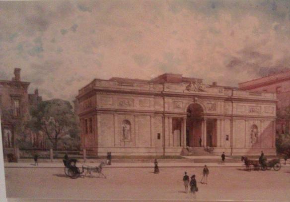 Engraving of Morgan library exterior
