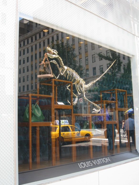dinosaurs in Louis Vuitton, 5th Ave