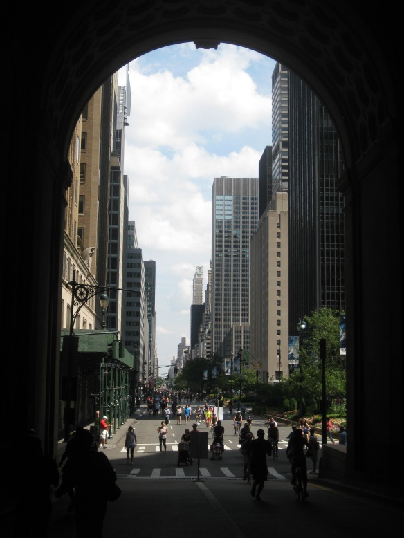 looking out of the Helmsley building road tunnel