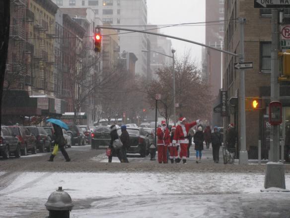 Santas hailing a cab
