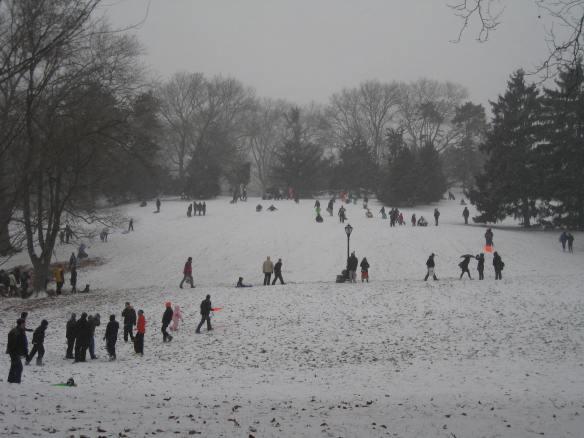 wintry scene in Central Park