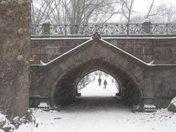 snowy bridge in Central Park