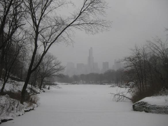 Central Park snow lake