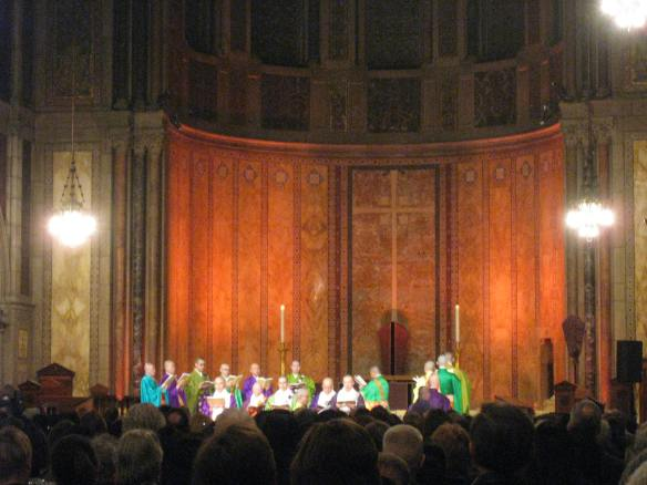 chant in the chancel, with added lighting effects