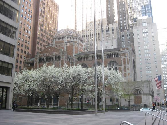 St Bart's with trees in bloom