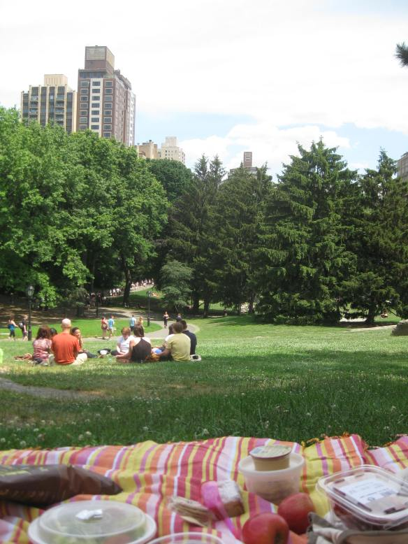A Central Park picnic, on our lovely new stripy blanket