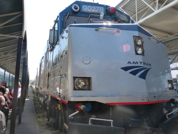Amtrak locomotive in Vancouver station