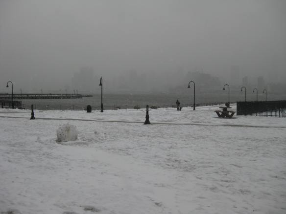 snow view across the Hudson