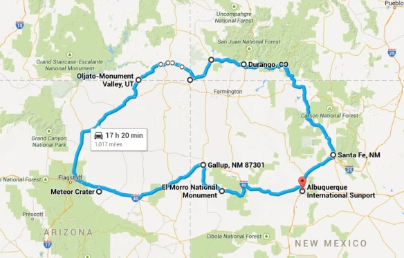 Four Corners route map