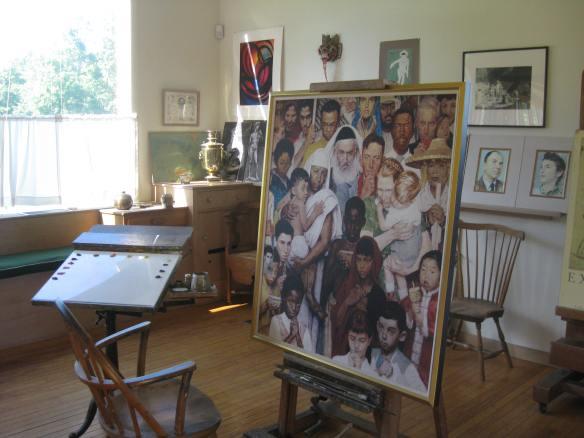 Rockwell's studio, Golden Rule on easel