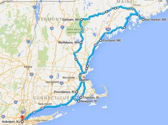 Downeast roadtrip route